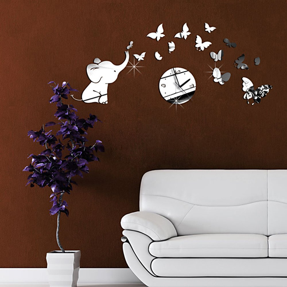 amazon com diy decorative modern mirror wall clock sticker amazon com diy decorative modern mirror wall clock sticker acrylic room silent large new bedroom livingroom children office decore elephant butterfly white