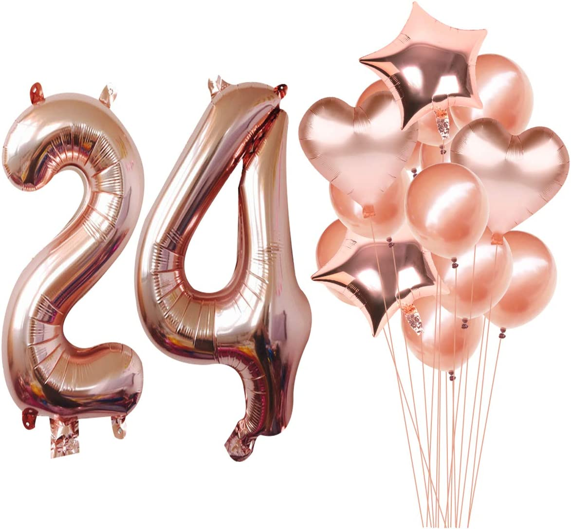 24th Birthday Decoration for Girls or Boys,24 Birthday Party Supplies 40inch Rose Gold Foil 24 Helium Jumbo Digital Number Balloons