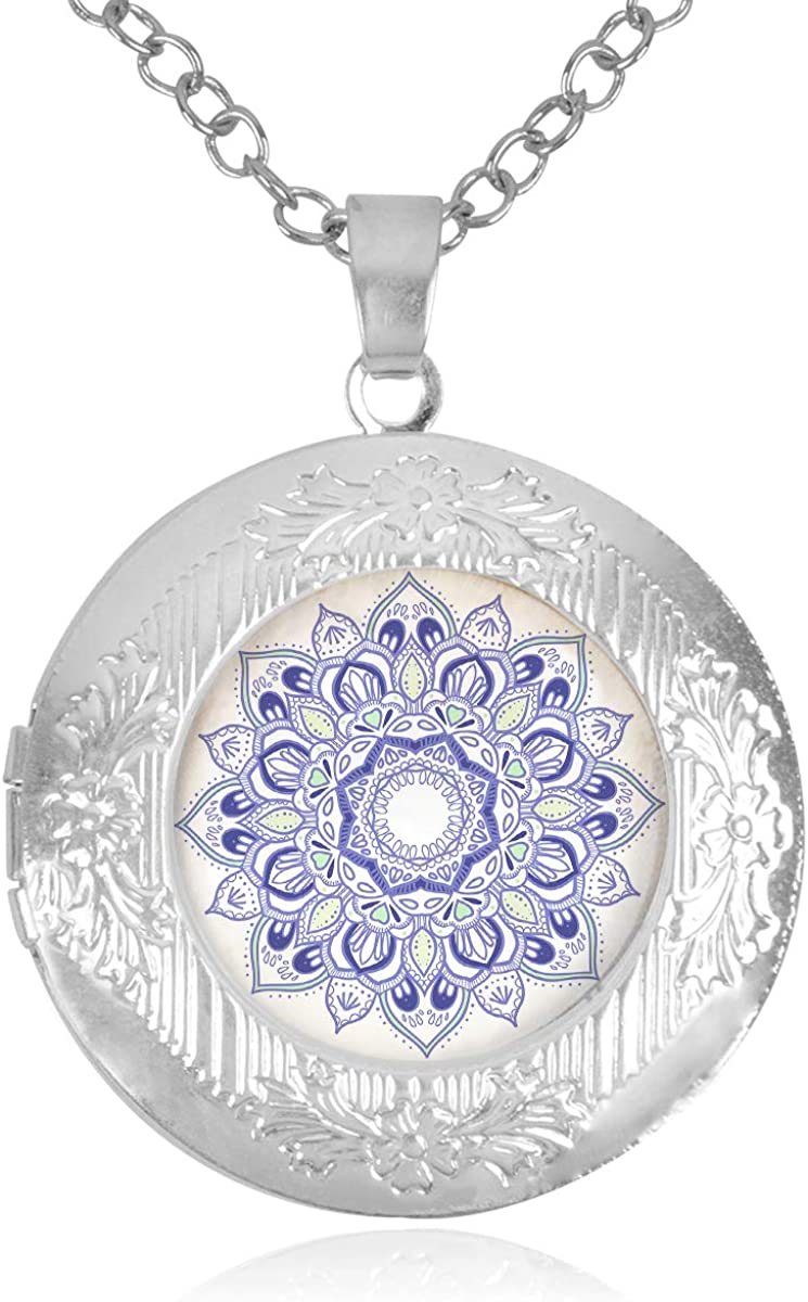 Fangship Purple Mandala Locket Pendant Stainless Steel Necklace Round Box Chain Jewelry for Women Girl Boy Men 1.18 Inch Includes Adjustable Length Cable Chain