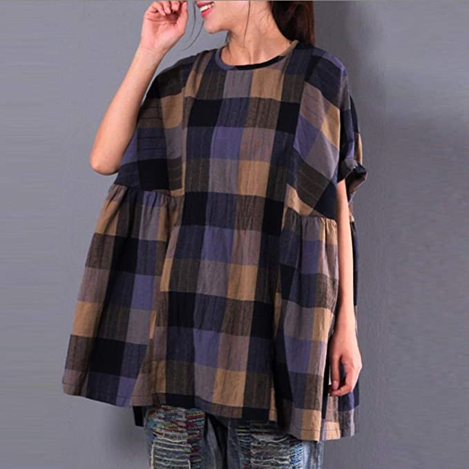 Amazon.com: Sunhusing Womens Retro Plaid Print Loose Cotton Linen Batwing Sleeve Top with Pocket: Clothing
