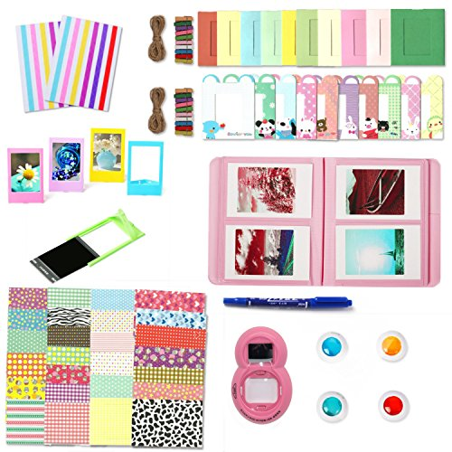 Leebotree Accessories Kit Compatible with Instax Mini 9 or Mini 8/8+/7s Include Album/Selfie Lens/Filters/Wall Hang Frames/Film Frames/Stickers (Flamingo Pink Without Bag)