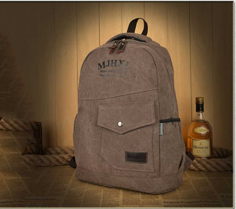 Amyannie Retro Canvas Backpack Casual Large Capacity Backpack Student Bag