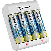 Steren CRG-015 Cargador de pilas AA y AAA, incluye 4 pilas AA, 1300 mAh, indicador de carga LED, compatible con baterías…