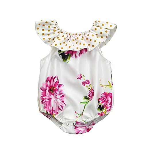 75eed242ed24 Amazon.com  KONFA Toddler Baby Girls Dots Print Golilla Floral ...