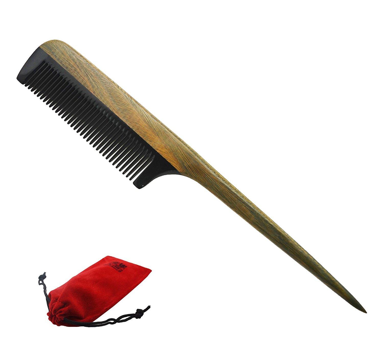 Meta-C Natural Handmade Buffalo Horn Hair Comb with Sandalwood Pin Tail Handle