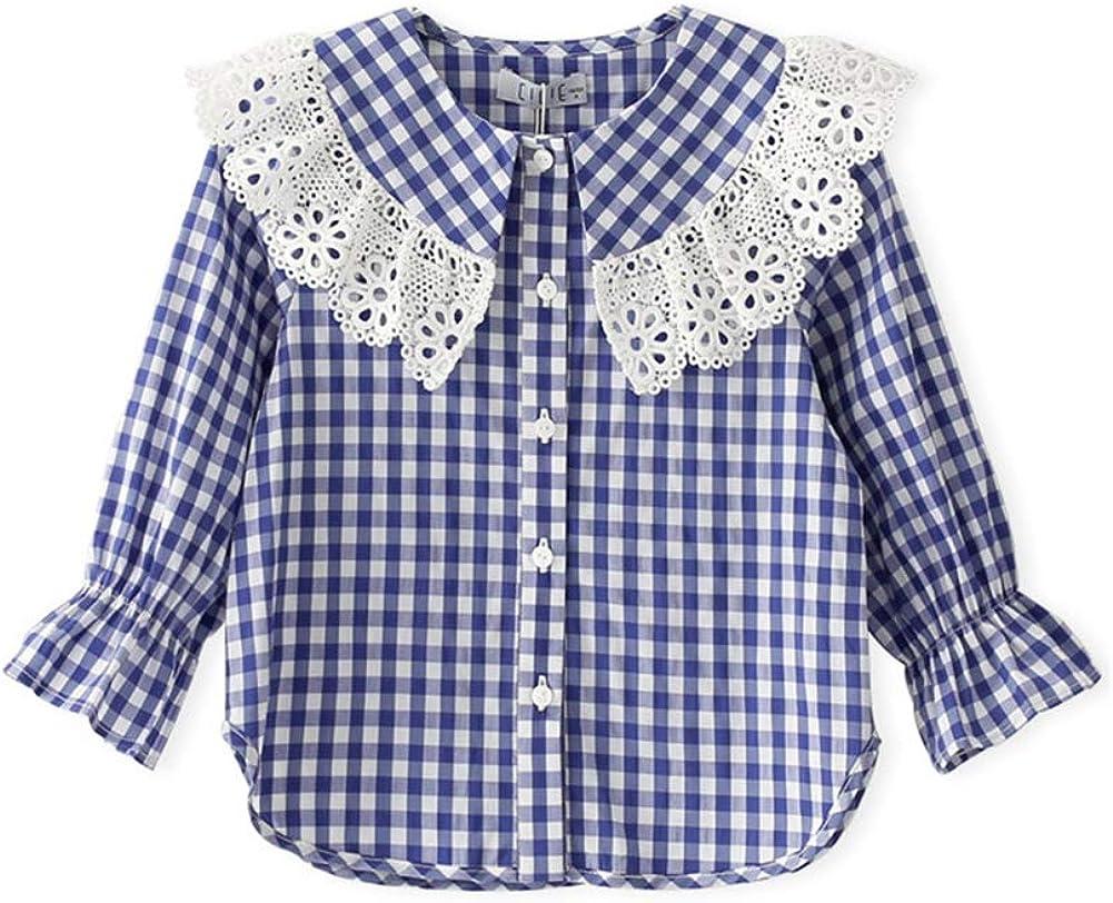 Mornyray Tops de Primavera y otoño para niñas Camisa de algodón con Cuello de muñeca a Cuadros: Amazon.es: Ropa y accesorios