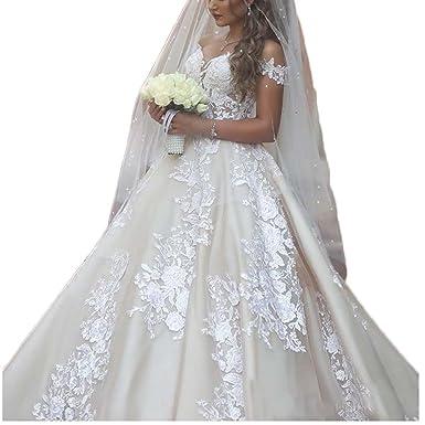 Thrsaeyi Women\'s Off Shoulder Wedding Dress Beaded Lace Bridal Gowns ...