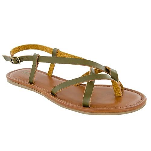 387ec3b27545c MIA Women s Cruise Flat Sandal Olive 7.5 ...