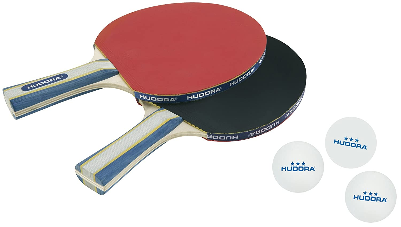 Hudora New Contest 2.0 Set de deux raquettes de pingpong avec trois balles 76245