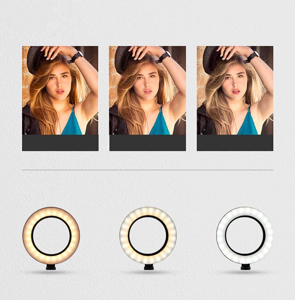 XYSQWZ Led Ring Light 10 Inch LED Ring Light with Tripod USB Powered Heightening Hose for Portrait Photography Video Makeup Selfie Mobile Phone Holder for YouTube Skincare Facebook
