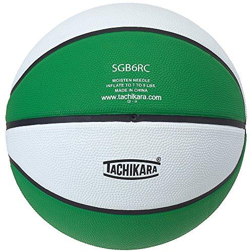 Tachikara Intermediate Size, 2-Tone Rubber Basketball (Kelly Green/White) Colored Basketballs