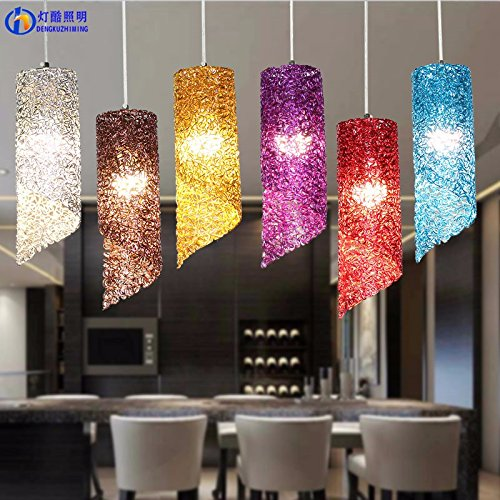 Dining room color aluminum cylindrical long tube pendant lamp,Purple