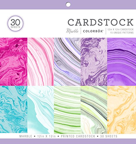 """ColorBok 71876B Cardstock Paper Pad Marble, 12"""" x 12"""" by Colorbok"""
