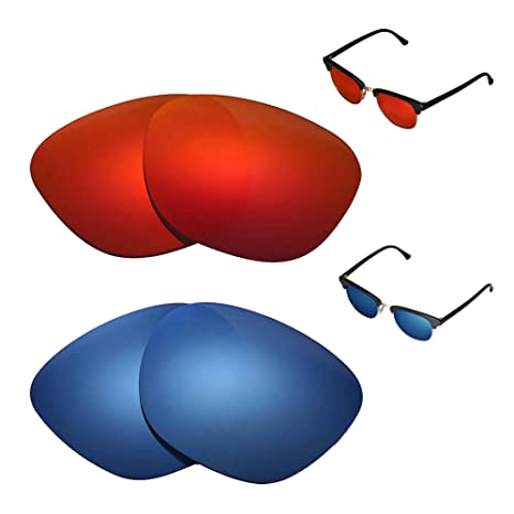 38a22c66b9 Amazon.com   Walleva Polarized Fire Red + Ice Blue Replacement Lenses for  Ray-Ban Clubmaster RB3016 49mm   Sports   Outdoors