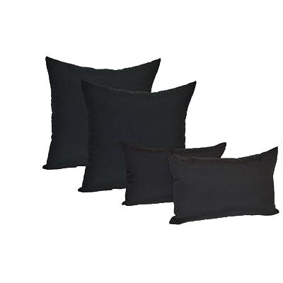 "Resort Spa Home Set of 4 Indoor/Outdoor Pillows - 17"" Square Throw Pillows & 11"" x 19"" Rectangle/Lumbar Decorative Throw Pillows - Solid Black Fabric : Garden & Outdoor"