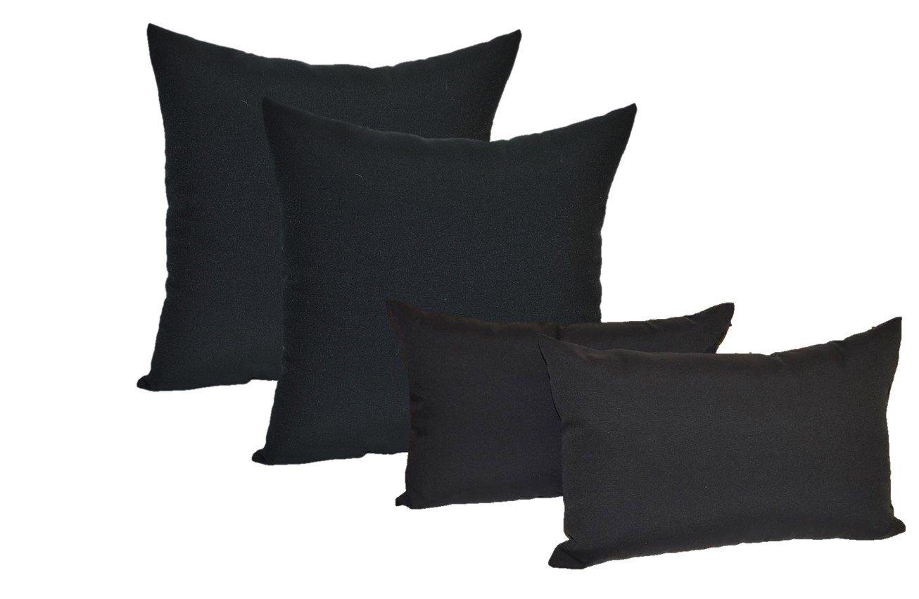Set of 4 Indoor / Outdoor Pillows - 17'' Square Throw Pillows & 11'' x 19'' Rectangle / Lumbar Decorative Throw Pillows - Solid Black Fabric