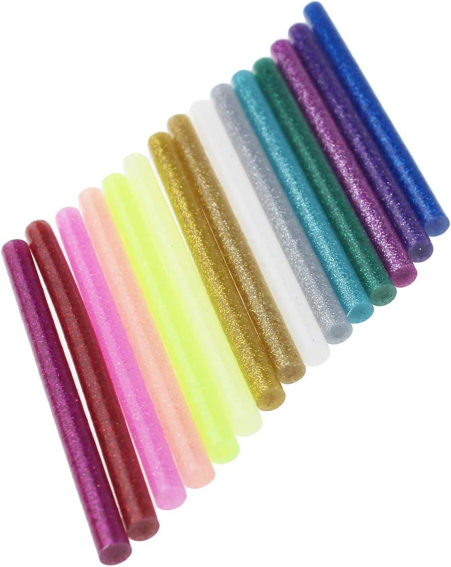 15 Farben 150 St/ück Glitzer-Hei/ßklebesticks f/ür Bastelarbeiten 7 mm x 100 mm