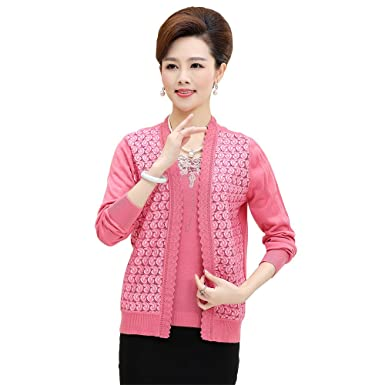e0ab43448 WEN TING Women Sweater Cardigan Twin Set Autumn Winter Elegant Clothing Knitting  Patterns Online at Amazon Women s Clothing store