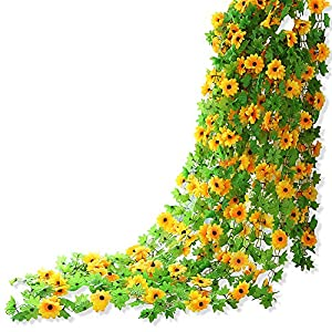 Yatim 8ft Sunflower Garland Pack of 2 Foliage Simulation Silk Flowers For Home Room Hotel Office Garden Wedding Garland Outside Decoration 10