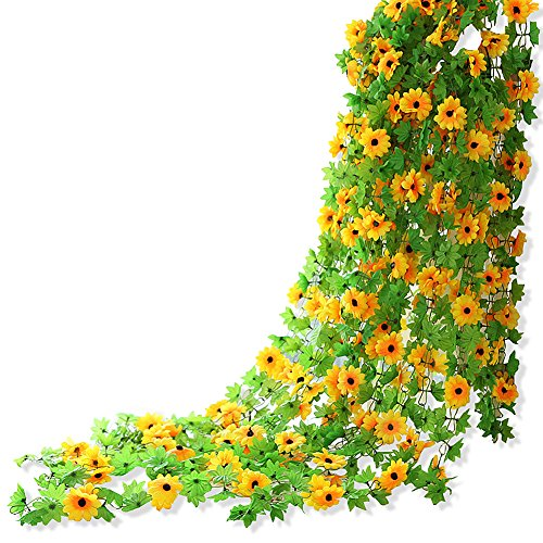 Yatim 8ft Sunflower Garland Pack of 2 Foliage Simulation Silk Flowers For Home Room Hotel Office Garden Wedding Garland Outside Decoration