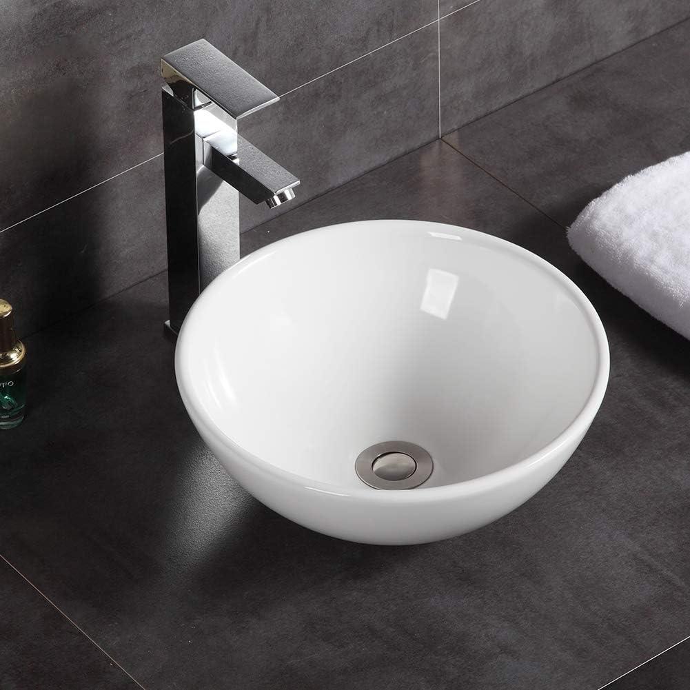 Lavabo moderno redondo para encimera de cerámica, 320 x 320 x 130 mm
