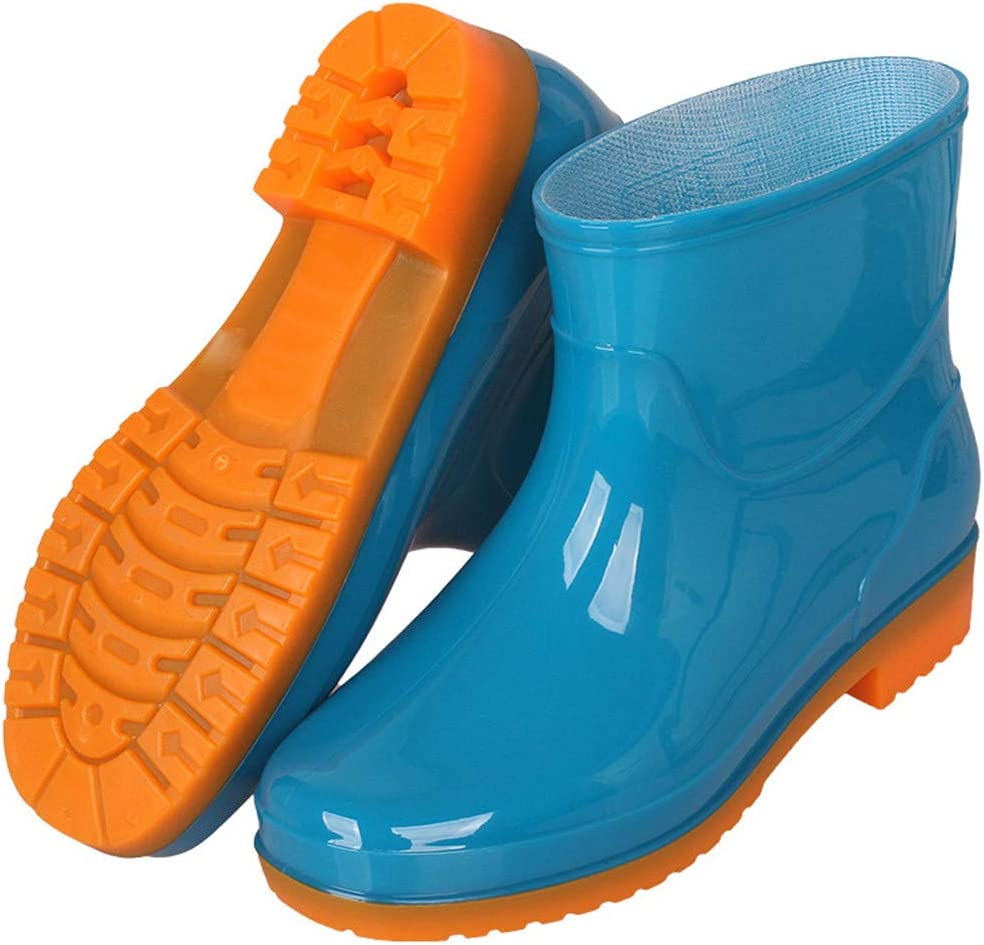 PBQWER Women's Rain Boots Waterproof Women Rain Footware, Garden Boots Adult Plastic Rain Boots Women's Short Rain Boots,Blue,36
