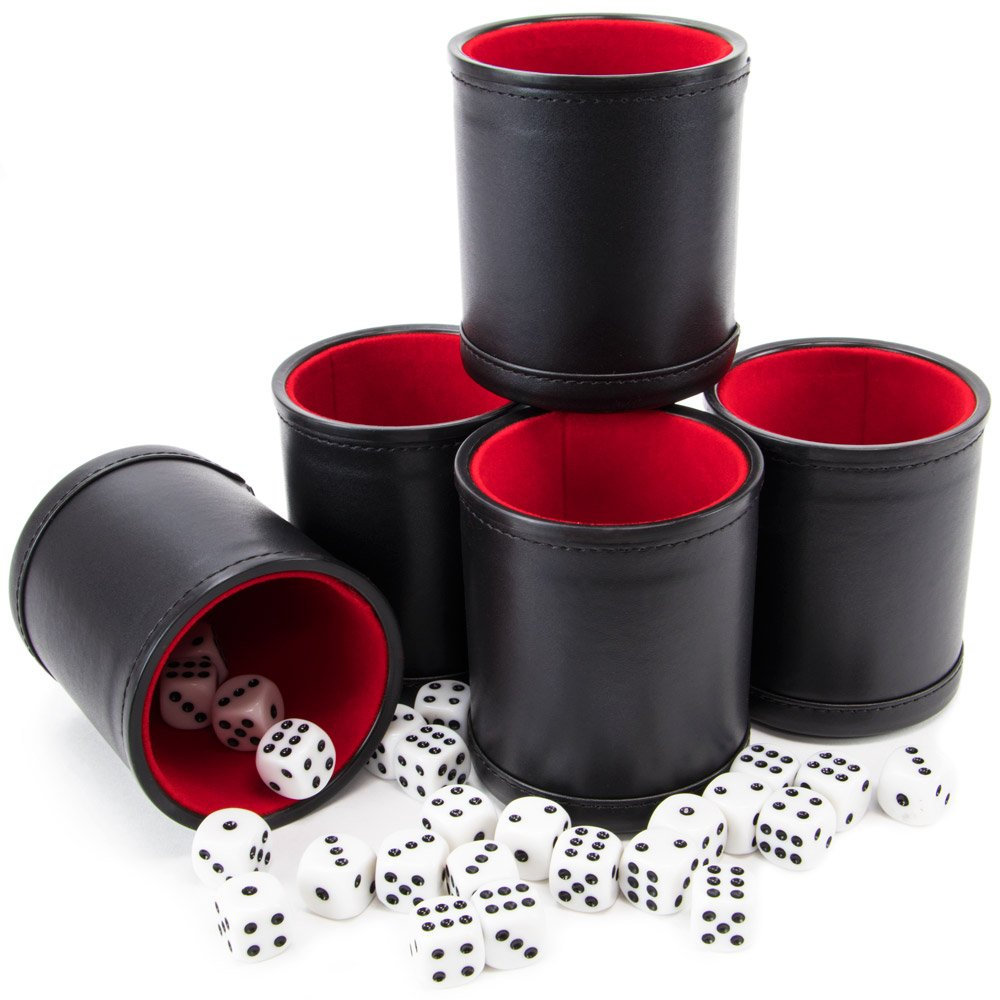 Bundle of 5 Professional Dice Cups – Red Felt-Lined, Quality Bicast Leather, Includes 25 White Six-Sided Dice by Brybelly