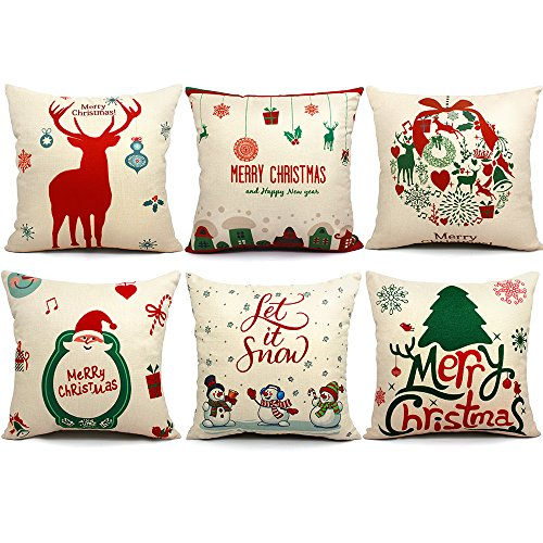 6 Packs Christmas Pillows Covers 18 X 18 Christmas Décor Santa Claus Pillow Covers Christmas Decorative Throw Pillow Case Sofa Home Décor