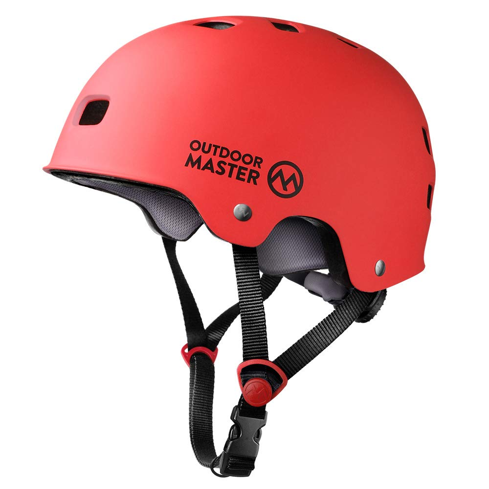 OutdoorMaster Skateboard Helmet - CPSC Certified Lightweight, Low-Profile Skate & freestyle BMX Helmet with Removable Lining - 12 Vents Ventilation System - for Kids, Youth & Adults - L - Red