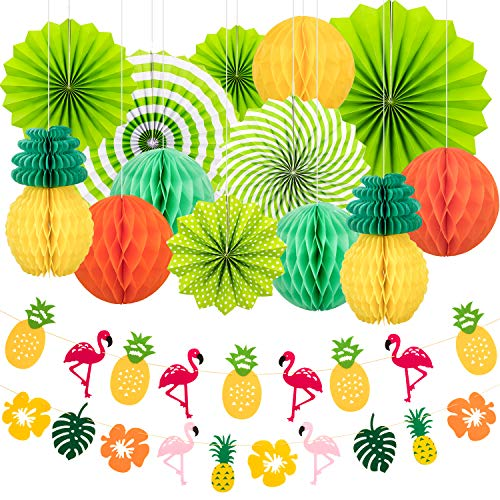 Whaline 15 Pieces Summer Party Decoration Set Hanging Paper Fans Pineapple and Flamingo Flower Garland Banner for Hawaiian Luau Beach Birthday Wedding Photo Backdrop