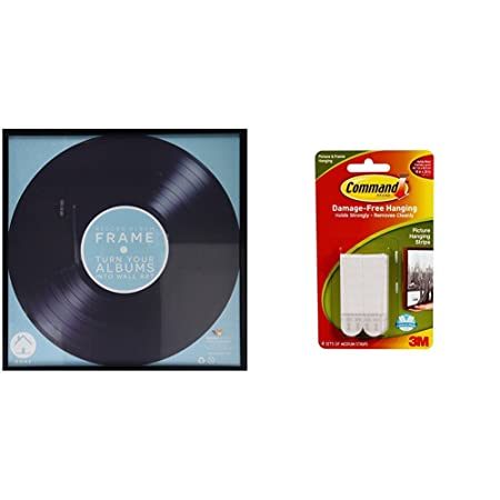 3a872b983f07 Retro Vinyl LP Record Album Square Frame 30 Centimeter 12 Inch Cover Sleeve  Wall Art Display - Black with Command hanging strips  Amazon.co.uk  Kitchen    ...