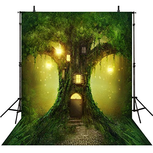 5x7ft cartoon magic woodland fairy enchanted green forest lights tree backdrops High-grade portrait cloth Computer printed party princess backgriond (Fairy Woodland Green)