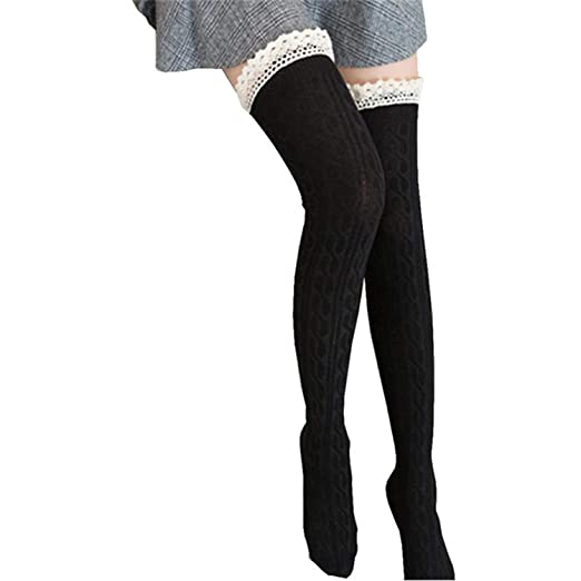 1Pair Sexy Lace Stockings Warm Thigh High Stockings Over Knee Socks Long Stockings Black