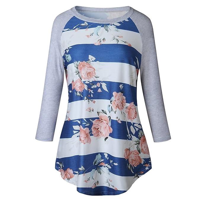 BBestseller Blusa Mujer Elegante Sexy 2018 Camiseta de Camisa a Rayas con Camisetas Manga Larga mujersueltas