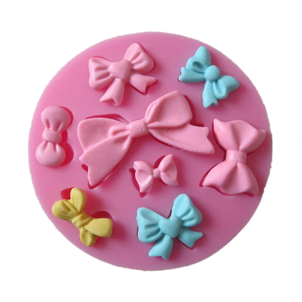Yunko 8 Mini Bows Silicone Mould Fondant Sugar Bow Craft Molds DIY Cake Decorating