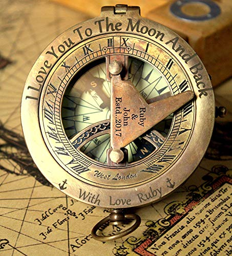 (Personalized engraved sundial compass, Engraving on top lid and gnomon, Gift for all occasions, Christmas, New year, Graduation, Love gift, Get well soon, wedding anniversary. Free real leather case)