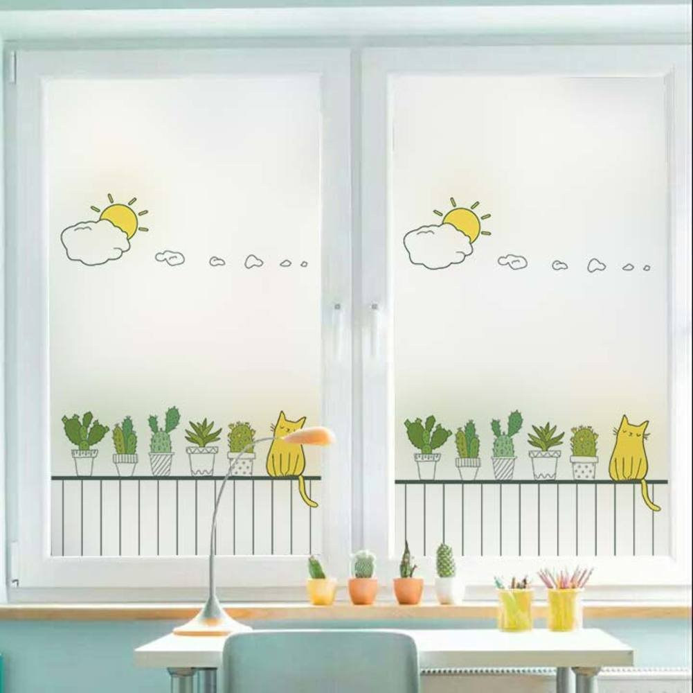 YQ WHJB No glue Static decorative films,Frosted privacy window film,Glass Cartoon Waterproof Reusable Window decal Sticker-A 45x60cm(18x24inch)