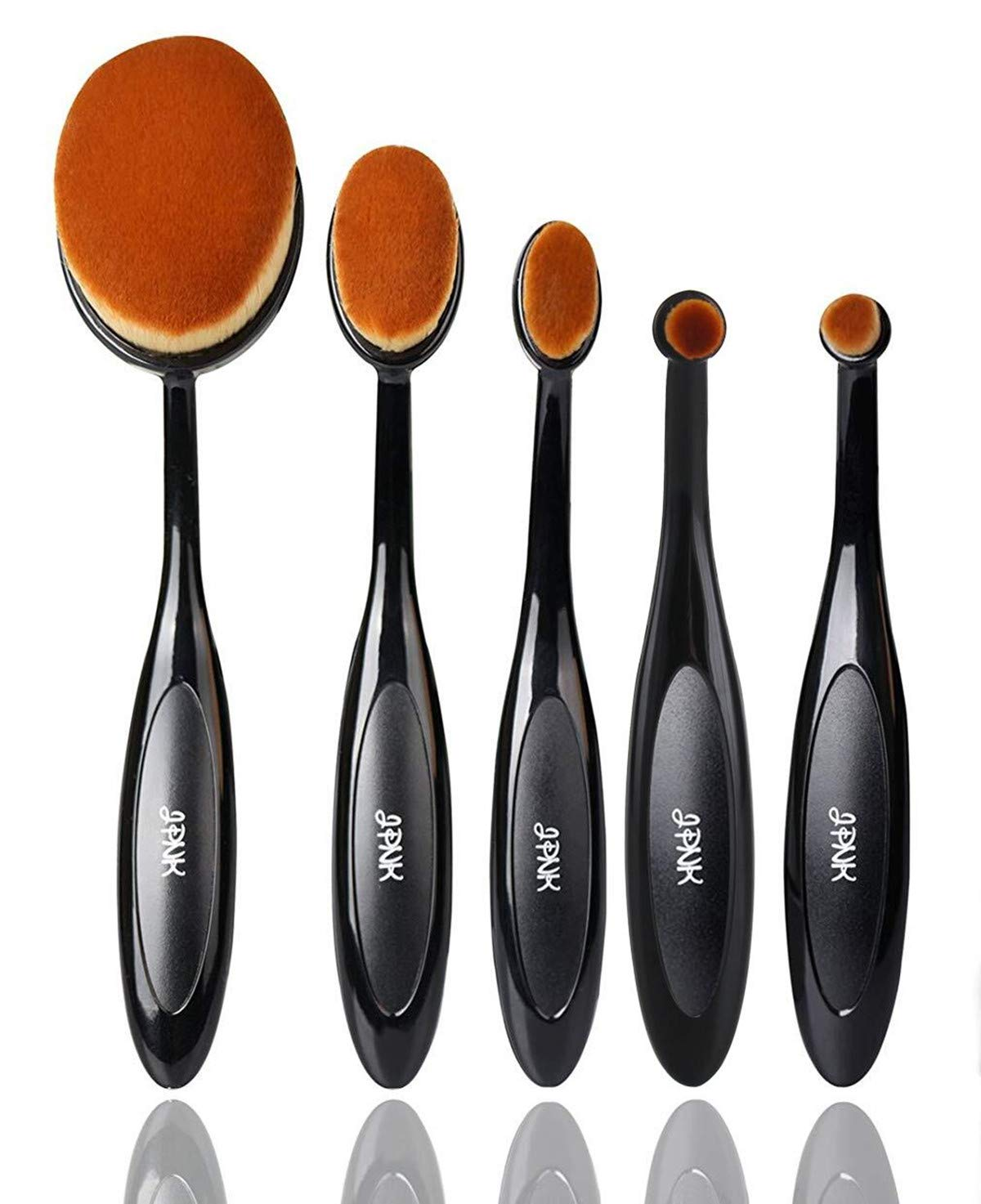 JPNK Oval Toothbrush Style Synthetic Powder Foundation Cream Makeup Brush (5 Pieces): Beauty