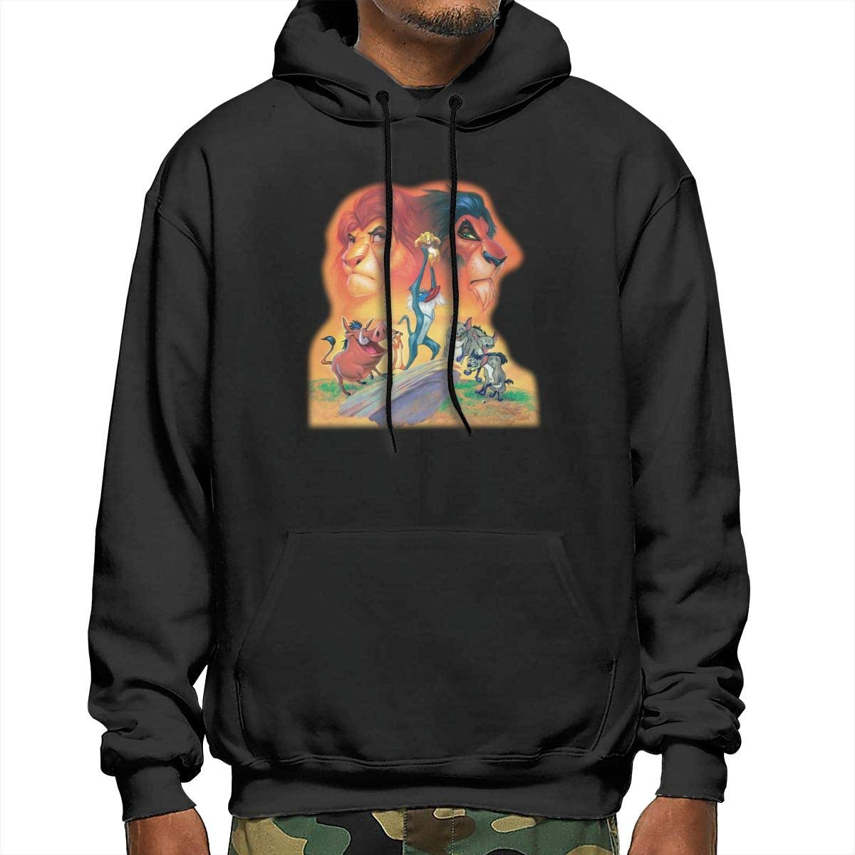 EVE JOHN Black The/_Lion/_Ki/_ng Hoodie Hood Stylish Hooded Sweater for Mens