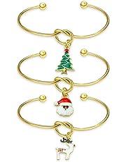 Ribukat Christmas Charm Bracelet Holiday Jewelry Set Womens Girls Winter Gift Funny for Children Girl Boy Child