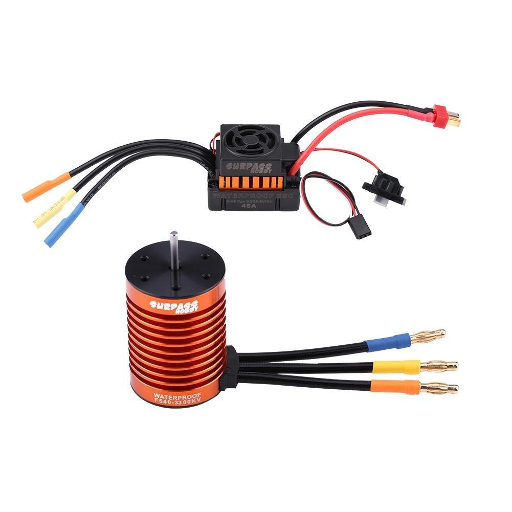 Dilwe RC Auto Motor und ESC, F540-V1 3300KV Bürstenlos Motor + 45A Elektronische Drehzahlregler Sensorless Wasserdicht 4 Pole Motor für 1/10 RC Auto-LKW