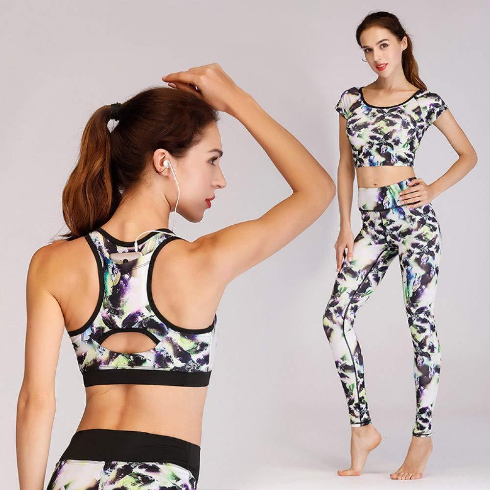 SHEQUDF donna Print Set da Yoga T-Shirts + Bra + Pants Sport Stretch Quick Dry Sweat Wicking Running Fitness Fitness Abbigliamento Sportivo da Donna, Multi colore, XL