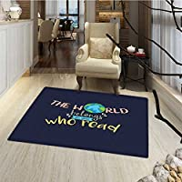 Book Bath Mat non slip The World Belongs to Those Who Read Inspirational Quote Print on Dark Blue Background Bath Mat Bathroom Mat with Non Slip 30x48 Multicolor