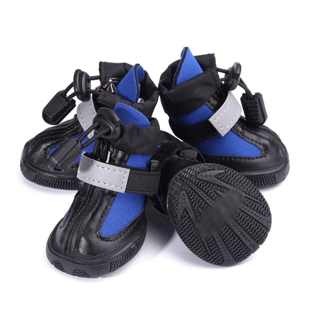 bluee 1 AUSWIEI Simple and Comfortable Diving Fabric Dog shoes Pet shoes (color   Black, Size   3 )