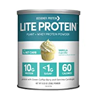 Designer Protein LITE, Low Calorie Natural Protein, Vanilla Cupcake, 9.03 Ounce,...