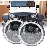 Soyavision - Juego de conversión de faros delanteros LED redondos de 18 cm (7 pulgadas) para Jeep Wrangler JK TJ FJ Hummer H2