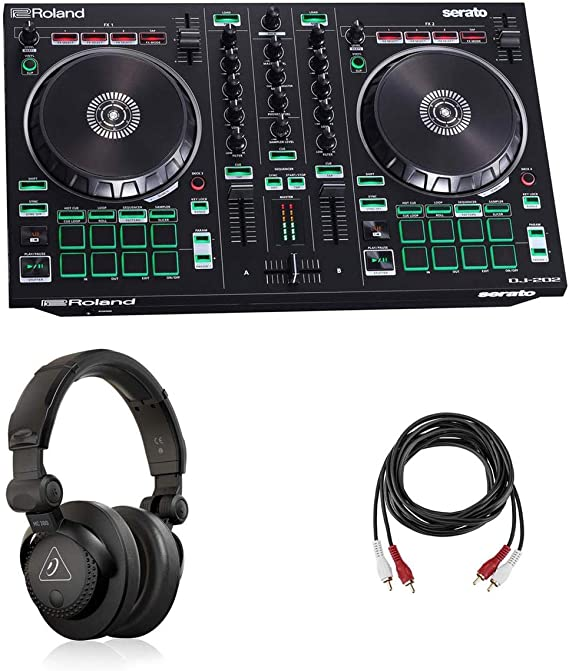 Amazon.com: Roland DJ-202 2-Channel 4-Deck Serato DJ Controller - Bundle With Behringer HC 200 Professional Closed-Back Over-Ear DJ Headphones, H&A 2 RCA Male to 2 RCA Male Stereo Audio Cable 10