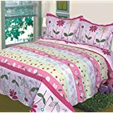 2pc Fancy Collection Twin Size Girls/teens Bedspread Girls/floral Pink Yellow White Hearts New