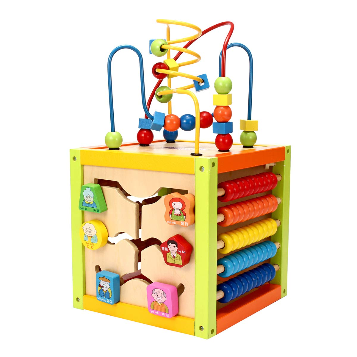 KING DO WAY Motorikwürfel Motorikschleife Kinder aus Holz Baby Activity Cube Würfel Spielzeug Schleife, Mit Farberkennung, Cartoon-Identifikation, Uhr Lernen, Mathematik Lernen, Etc
