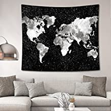 HL New Art Stylish Pattern Wall Hanging Tapestry for Bedroom / Living Room / Dorm Accessories (51 x 60 Inch, World Map Silhouette)